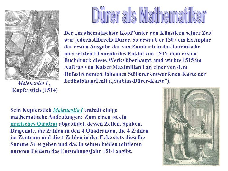 Melencolia I, Kupferstich (1514) Der mathematischste Kopfunter den Künstlern seiner Zeit war jedoch Albrecht Dürer. So erwarb er 1507 ein Exemplar der