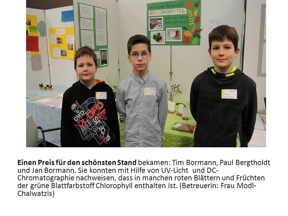 Einen Preis für den schönsten Stand bekamen: Tim Bormann, Paul Bergtholdt und Jan Bormann. Sie konnten mit Hilfe von UV-Licht und DC- Chromatographie