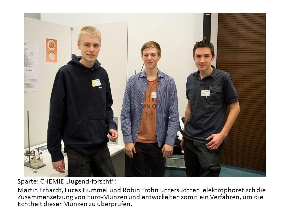 Sparte: CHEMIE Jugend-forscht: Martin Erhardt, Lucas Hummel und Robin Frohn untersuchten elektrophoretisch die Zusammensetzung von Euro-Münzen und ent