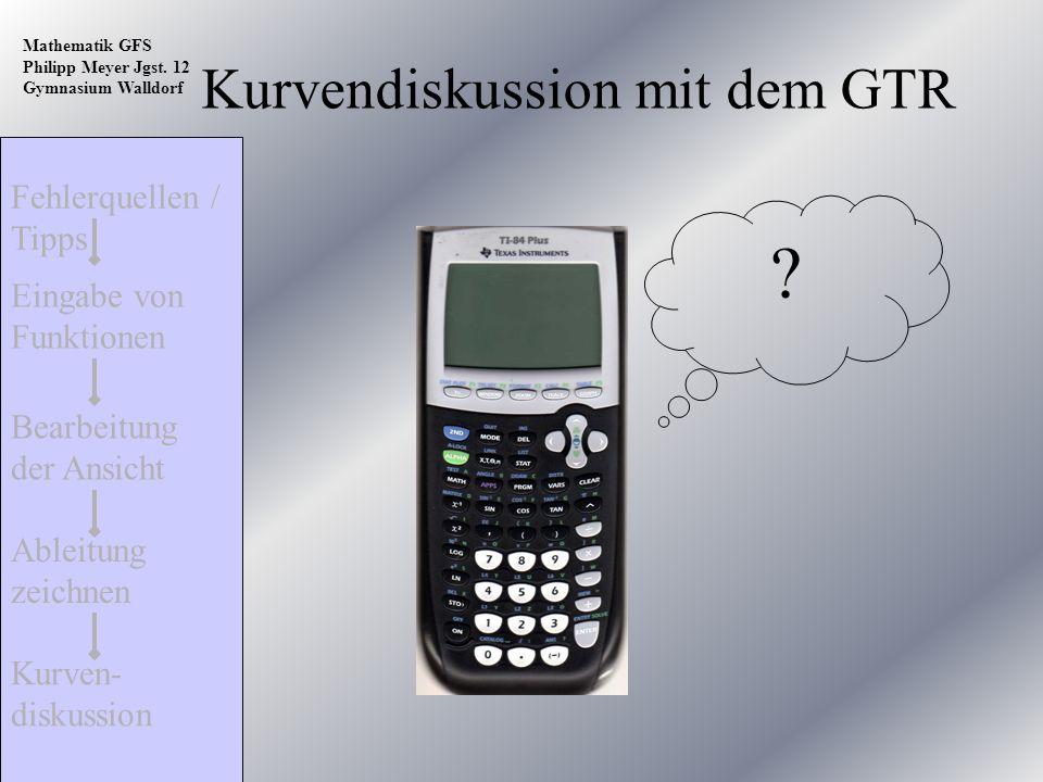 Fehlerquellen / Tipps Kurven- diskussion Ableitung zeichnen Bearbeitung der Ansicht Eingabe von Funktionen Mathematik GFS Philipp Meyer Jgst. 12 Gymna