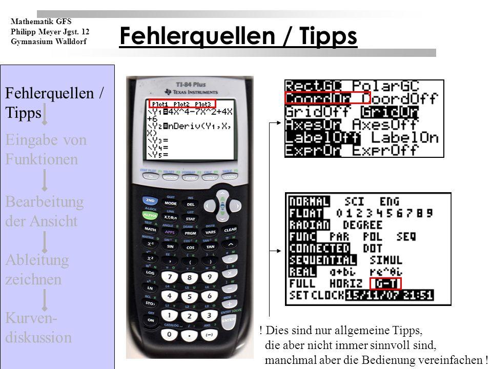 Fehlerquellen / Tipps Kurven- diskussion Ableitung zeichnen Bearbeitung der Ansicht Eingabe von Funktionen Mathematik GFS Philipp Meyer Jgst.
