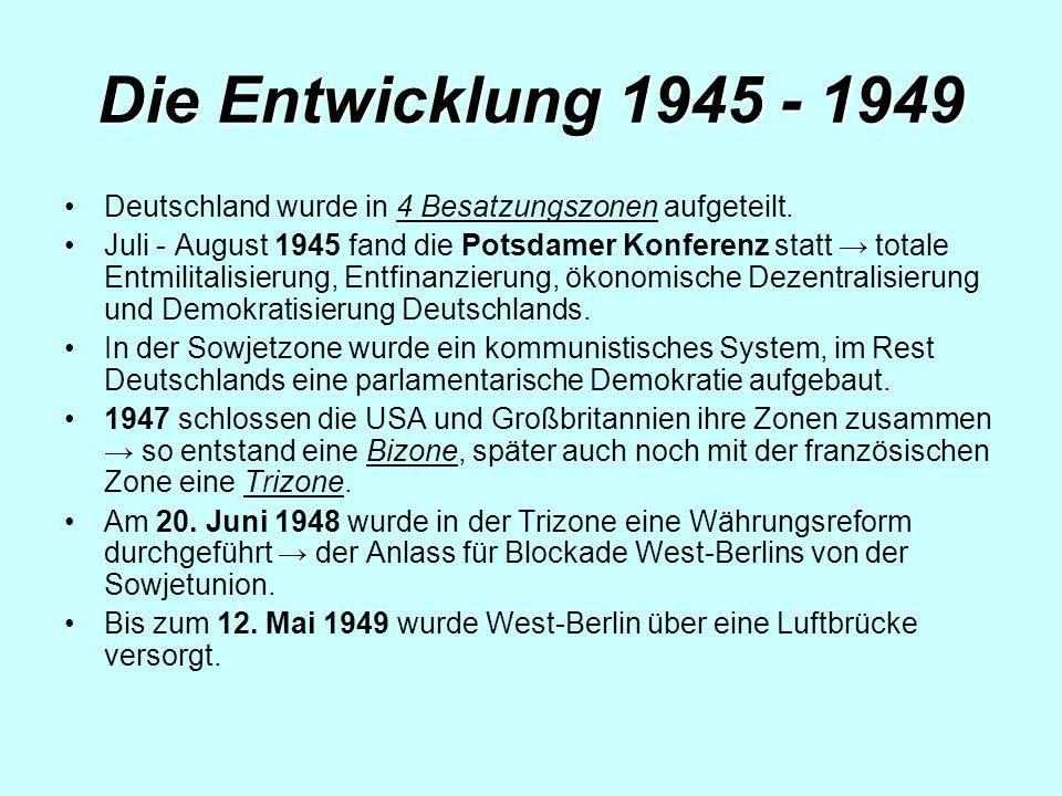 Die Entwicklung 1945 - 1949 Deutschland wurde in 4 Besatzungszonen aufgeteilt.