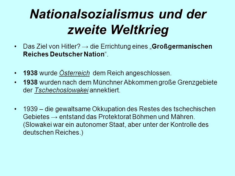 Nationalsozialismus und der zweite Weltkrieg Das Ziel von Hitler.