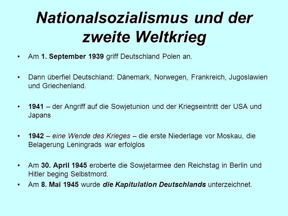 Nationalsozialismus und der zweite Weltkrieg Am 1.