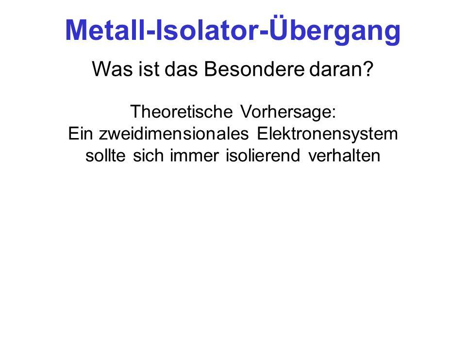 Metall-Isolator-Übergang Was ist das Besondere daran? Theoretische Vorhersage: Ein zweidimensionales Elektronensystem sollte sich immer isolierend ver