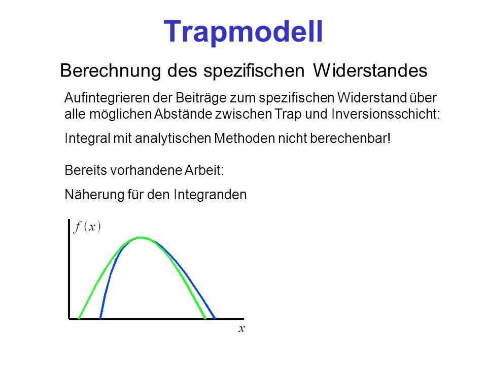 Trapmodell Berechnung des spezifischen Widerstandes Aufintegrieren der Beiträge zum spezifischen Widerstand über alle möglichen Abstände zwischen Trap