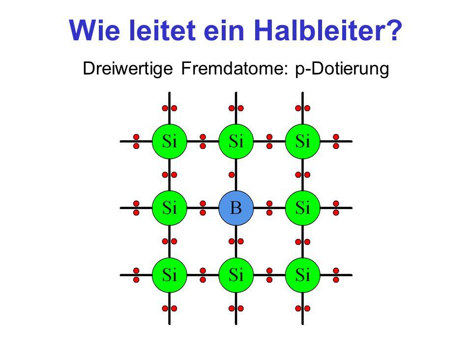Wie leitet ein Halbleiter? Dreiwertige Fremdatome: p-Dotierung