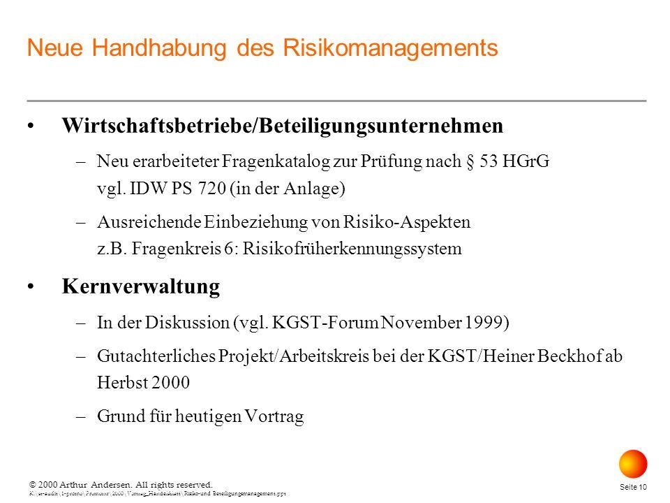 © 2000 Arthur Andersen. All rights reserved. K:\st-audit\1-promo\Promorxr\2000\Vortrag_Handelsblatt\Risiko-und Beteiligungsmanagement.ppt Seite 10 © 2