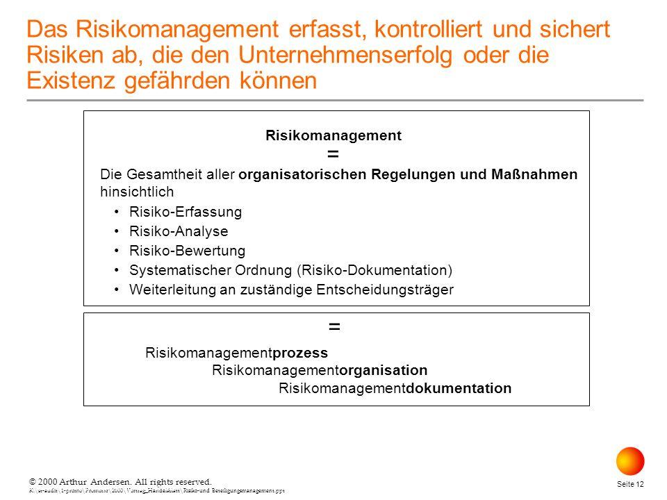 © 2000 Arthur Andersen. All rights reserved. K:\st-audit\1-promo\Promorxr\2000\Vortrag_Handelsblatt\Risiko-und Beteiligungsmanagement.ppt Seite 12 © 2