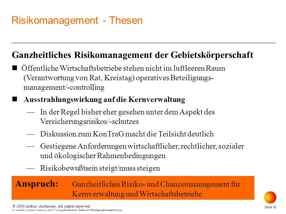 © 2000 Arthur Andersen. All rights reserved. K:\st-audit\1-promo\Promorxr\2000\Vortrag_Handelsblatt\Risiko-und Beteiligungsmanagement.ppt Seite 15 © 2