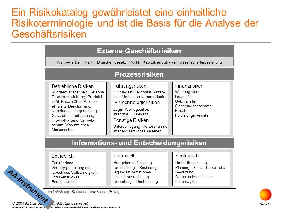 © 2000 Arthur Andersen. All rights reserved. K:\st-audit\1-promo\Promorxr\2000\Vortrag_Handelsblatt\Risiko-und Beteiligungsmanagement.ppt Seite 17 © 2