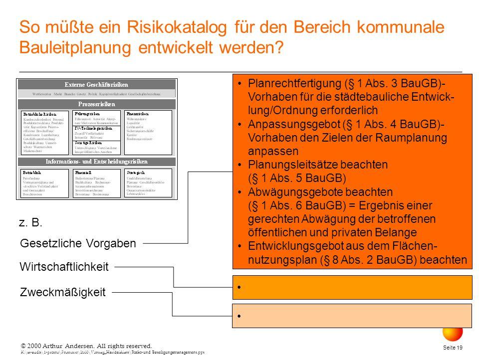 © 2000 Arthur Andersen. All rights reserved. K:\st-audit\1-promo\Promorxr\2000\Vortrag_Handelsblatt\Risiko-und Beteiligungsmanagement.ppt Seite 19 © 2