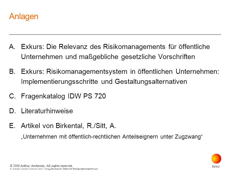 © 2000 Arthur Andersen. All rights reserved. K:\st-audit\1-promo\Promorxr\2000\Vortrag_Handelsblatt\Risiko-und Beteiligungsmanagement.ppt Seite 2 © 20