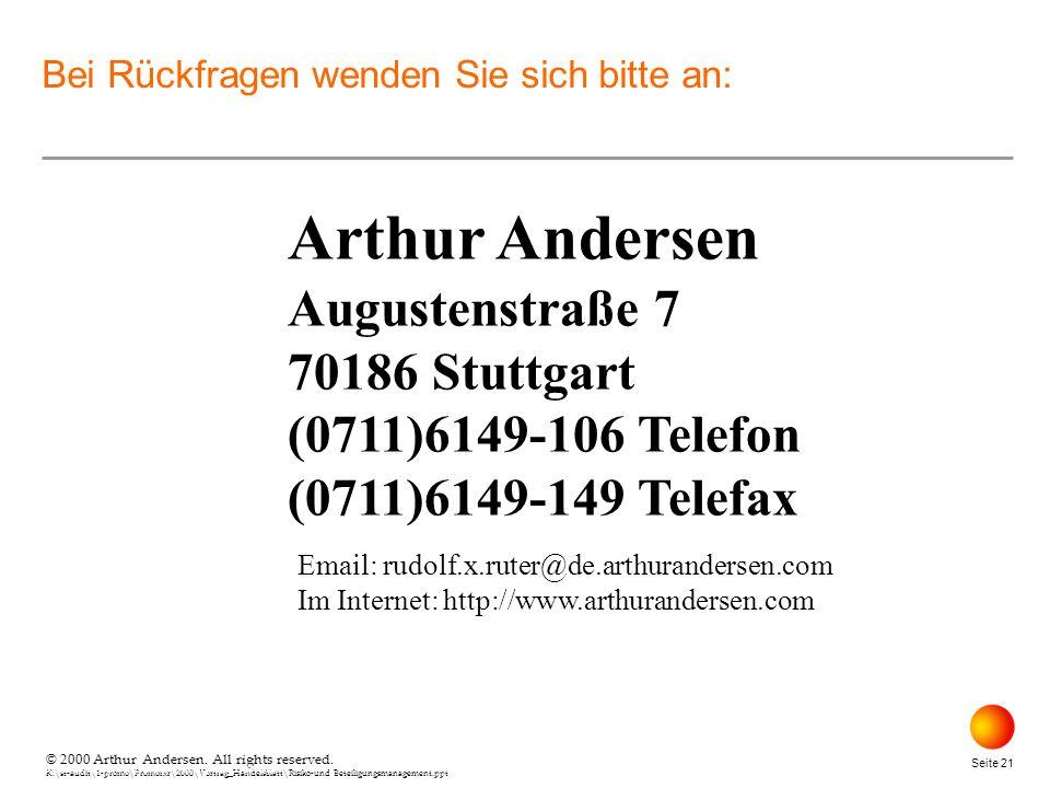 © 2000 Arthur Andersen. All rights reserved. K:\st-audit\1-promo\Promorxr\2000\Vortrag_Handelsblatt\Risiko-und Beteiligungsmanagement.ppt Seite 21 © 2
