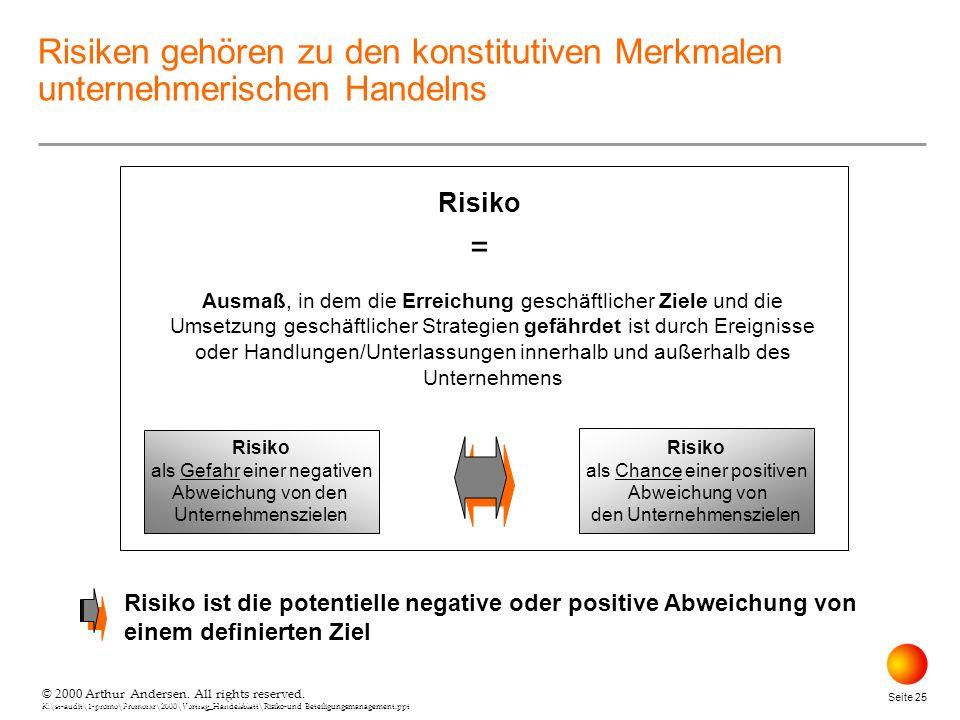 © 2000 Arthur Andersen. All rights reserved. K:\st-audit\1-promo\Promorxr\2000\Vortrag_Handelsblatt\Risiko-und Beteiligungsmanagement.ppt Seite 25 © 2