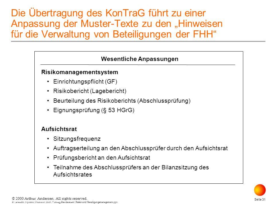 © 2000 Arthur Andersen. All rights reserved. K:\st-audit\1-promo\Promorxr\2000\Vortrag_Handelsblatt\Risiko-und Beteiligungsmanagement.ppt Seite 31 © 2