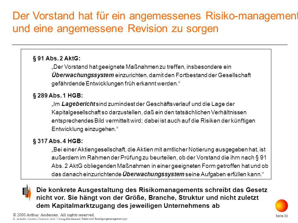 © 2000 Arthur Andersen. All rights reserved. K:\st-audit\1-promo\Promorxr\2000\Vortrag_Handelsblatt\Risiko-und Beteiligungsmanagement.ppt Seite 33 © 2