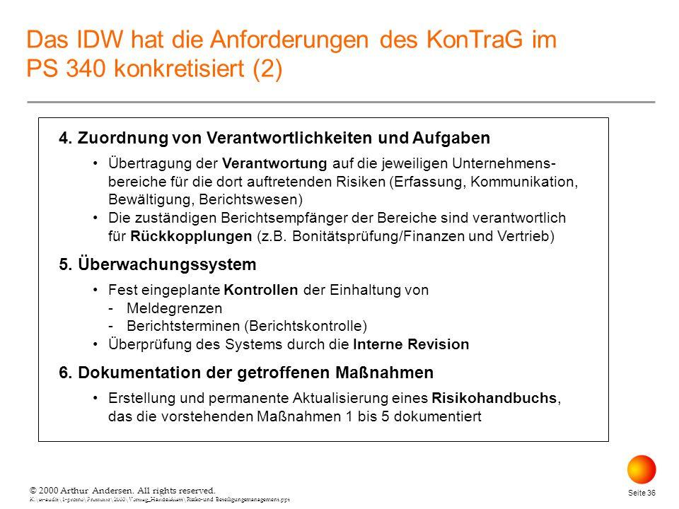 © 2000 Arthur Andersen. All rights reserved. K:\st-audit\1-promo\Promorxr\2000\Vortrag_Handelsblatt\Risiko-und Beteiligungsmanagement.ppt Seite 36 © 2