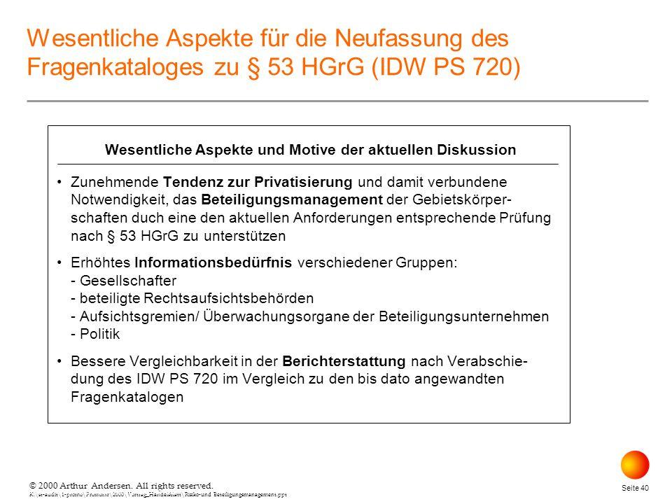 © 2000 Arthur Andersen. All rights reserved. K:\st-audit\1-promo\Promorxr\2000\Vortrag_Handelsblatt\Risiko-und Beteiligungsmanagement.ppt Seite 40 © 2