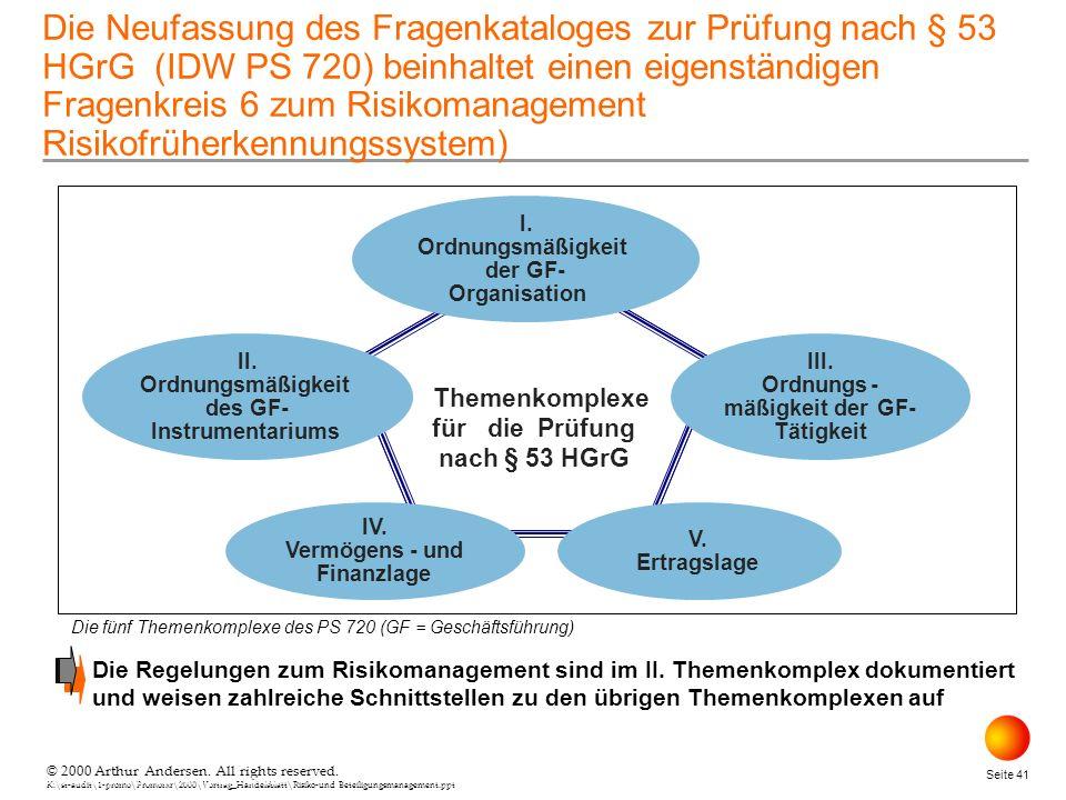 © 2000 Arthur Andersen. All rights reserved. K:\st-audit\1-promo\Promorxr\2000\Vortrag_Handelsblatt\Risiko-und Beteiligungsmanagement.ppt Seite 41 © 2