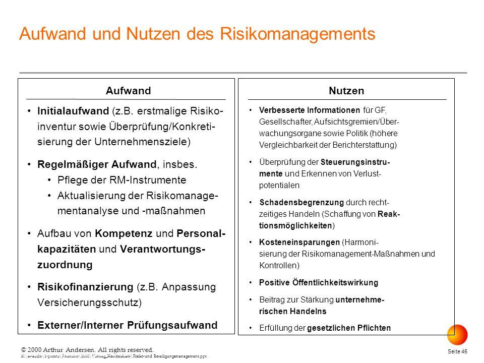 © 2000 Arthur Andersen. All rights reserved. K:\st-audit\1-promo\Promorxr\2000\Vortrag_Handelsblatt\Risiko-und Beteiligungsmanagement.ppt Seite 45 © 2