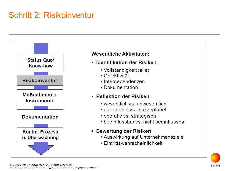 © 2000 Arthur Andersen. All rights reserved. K:\st-audit\1-promo\Promorxr\2000\Vortrag_Handelsblatt\Risiko-und Beteiligungsmanagement.ppt Seite 55 © 2