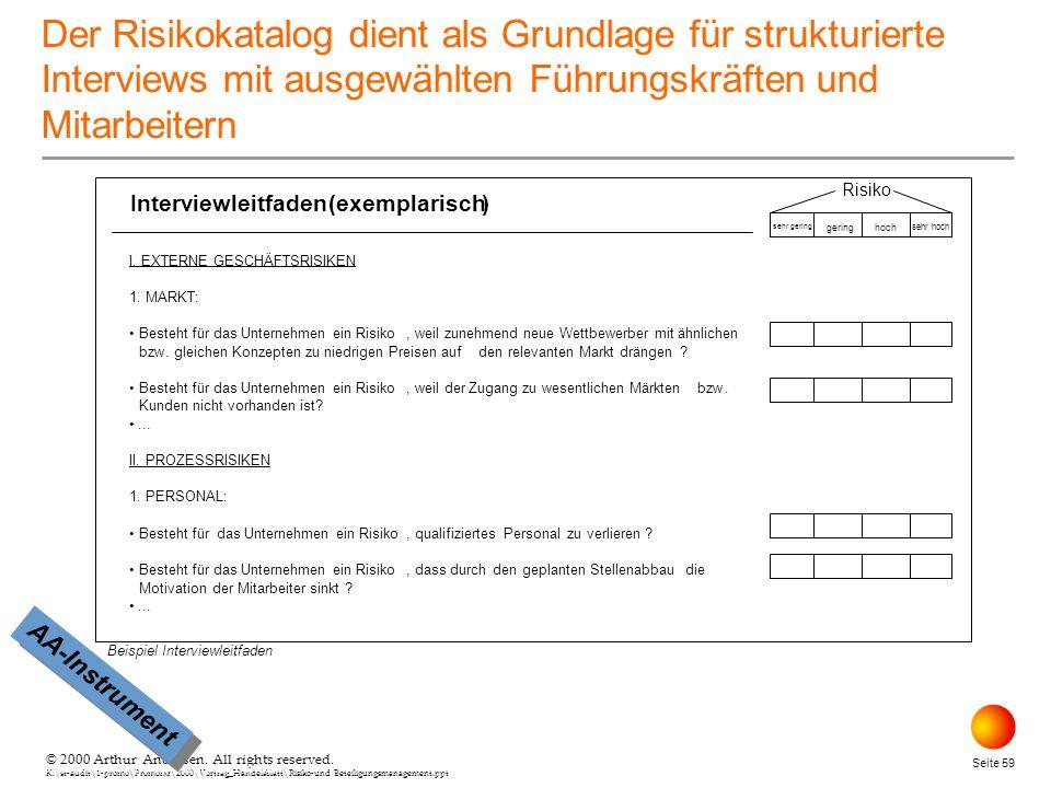 © 2000 Arthur Andersen. All rights reserved. K:\st-audit\1-promo\Promorxr\2000\Vortrag_Handelsblatt\Risiko-und Beteiligungsmanagement.ppt Seite 59 © 2