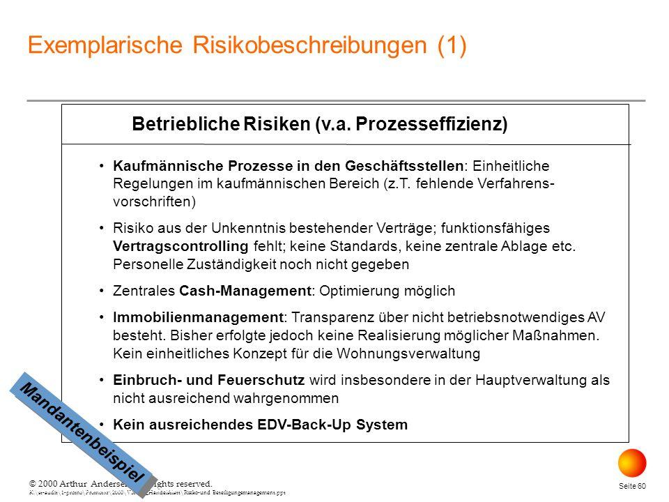 © 2000 Arthur Andersen. All rights reserved. K:\st-audit\1-promo\Promorxr\2000\Vortrag_Handelsblatt\Risiko-und Beteiligungsmanagement.ppt Seite 60 © 2