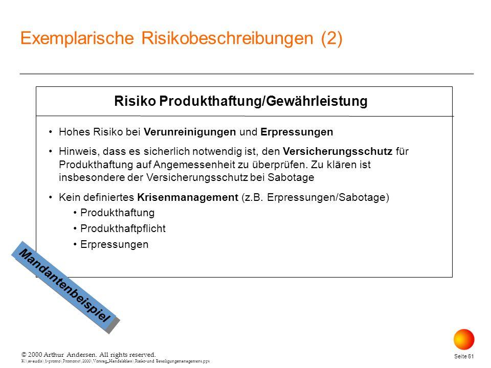 © 2000 Arthur Andersen. All rights reserved. K:\st-audit\1-promo\Promorxr\2000\Vortrag_Handelsblatt\Risiko-und Beteiligungsmanagement.ppt Seite 61 Ris