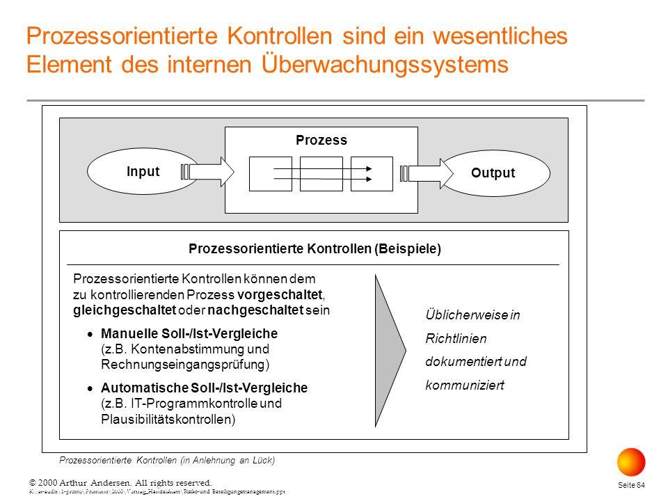 © 2000 Arthur Andersen. All rights reserved. K:\st-audit\1-promo\Promorxr\2000\Vortrag_Handelsblatt\Risiko-und Beteiligungsmanagement.ppt Seite 64 © 2