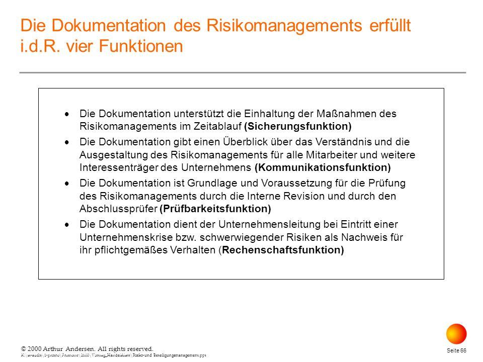 © 2000 Arthur Andersen. All rights reserved. K:\st-audit\1-promo\Promorxr\2000\Vortrag_Handelsblatt\Risiko-und Beteiligungsmanagement.ppt Seite 66 © 2