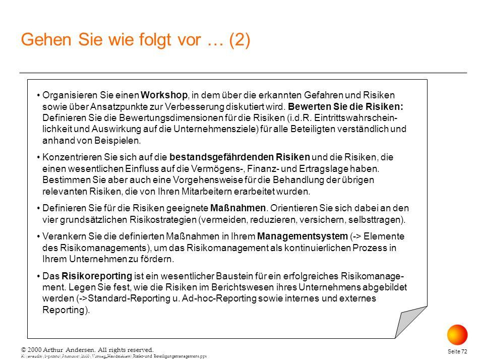 © 2000 Arthur Andersen. All rights reserved. K:\st-audit\1-promo\Promorxr\2000\Vortrag_Handelsblatt\Risiko-und Beteiligungsmanagement.ppt Seite 72 © 2