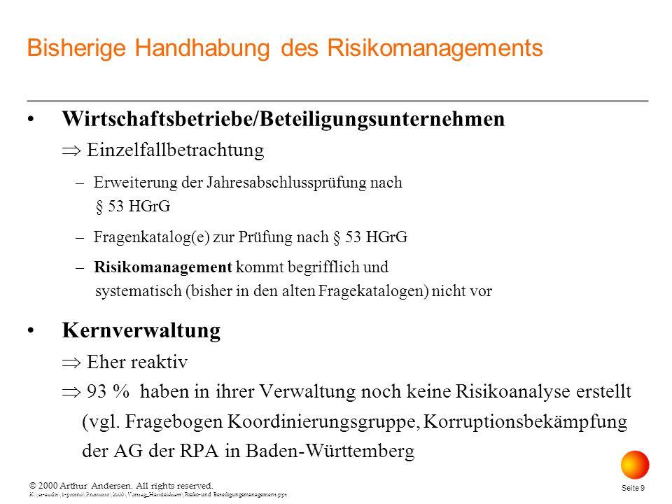 © 2000 Arthur Andersen. All rights reserved. K:\st-audit\1-promo\Promorxr\2000\Vortrag_Handelsblatt\Risiko-und Beteiligungsmanagement.ppt Seite 9 © 20
