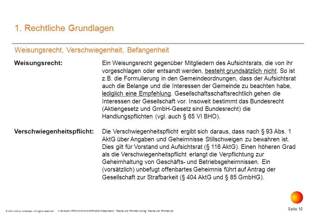 K:\St-Audit\1-PROMO\Promo-RXR\2000\Präsentation Rechte und Pflichten\Vortrag Rechte und Pflichten.ppt Seite 10 © 2000 Arthur Andersen.