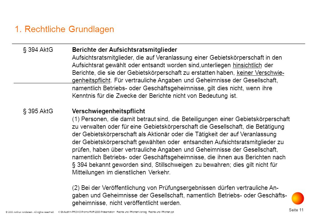 K:\St-Audit\1-PROMO\Promo-RXR\2000\Präsentation Rechte und Pflichten\Vortrag Rechte und Pflichten.ppt Seite 11 © 2000 Arthur Andersen.