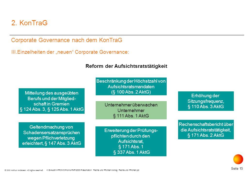 K:\St-Audit\1-PROMO\Promo-RXR\2000\Präsentation Rechte und Pflichten\Vortrag Rechte und Pflichten.ppt Seite 15 © 2000 Arthur Andersen.