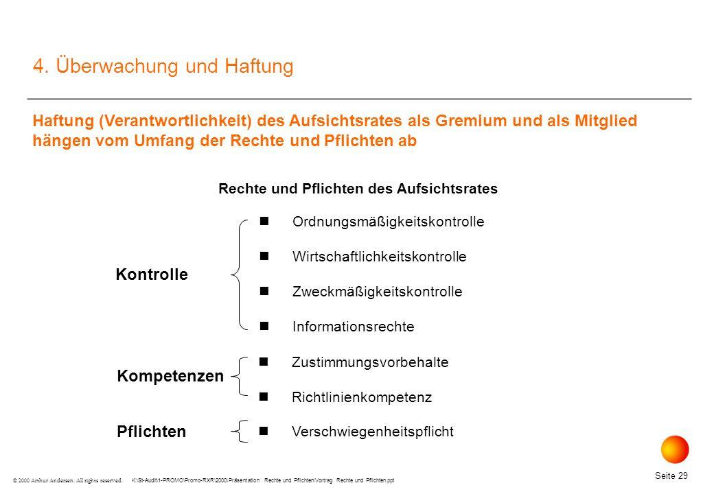 K:\St-Audit\1-PROMO\Promo-RXR\2000\Präsentation Rechte und Pflichten\Vortrag Rechte und Pflichten.ppt Seite 29 © 2000 Arthur Andersen.