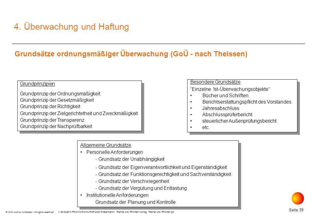 K:\St-Audit\1-PROMO\Promo-RXR\2000\Präsentation Rechte und Pflichten\Vortrag Rechte und Pflichten.ppt Seite 39 © 2000 Arthur Andersen.