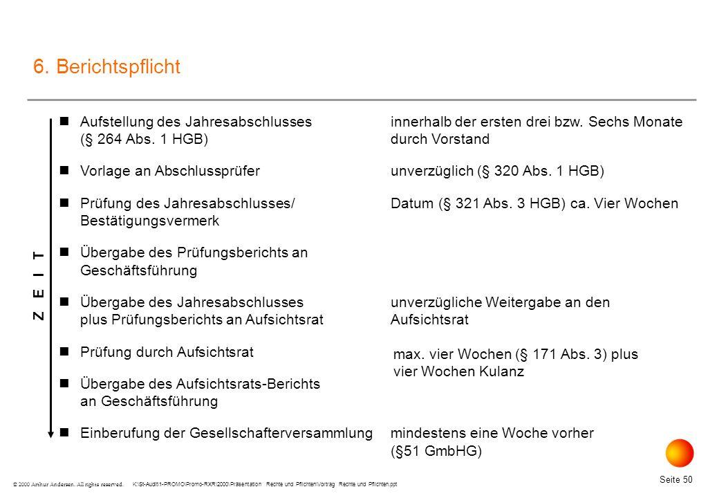 K:\St-Audit\1-PROMO\Promo-RXR\2000\Präsentation Rechte und Pflichten\Vortrag Rechte und Pflichten.ppt Seite 50 © 2000 Arthur Andersen.