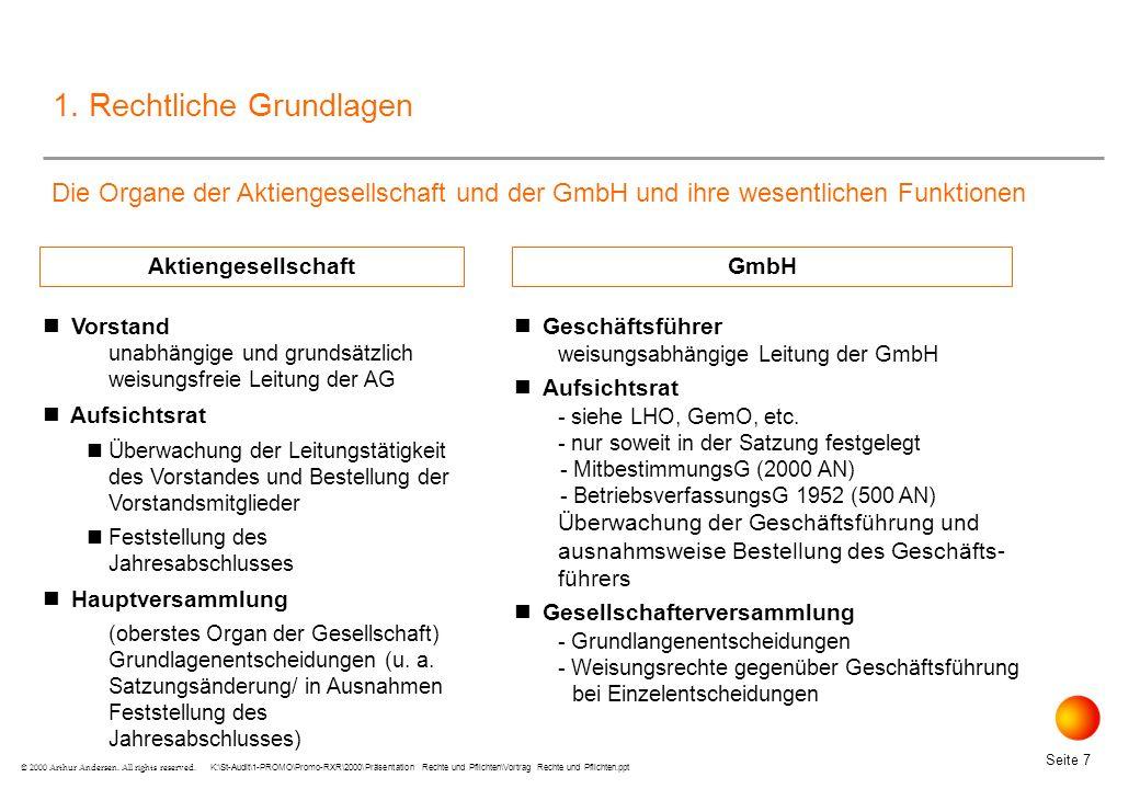 K:\St-Audit\1-PROMO\Promo-RXR\2000\Präsentation Rechte und Pflichten\Vortrag Rechte und Pflichten.ppt Seite 18 © 2000 Arthur Andersen.