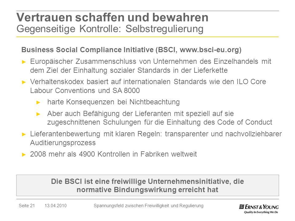Seite 21 13.04.2010 Spannungsfeld zwischen Freiwilligkeit und Regulierung Die BSCI ist eine freiwillige Unternehmensinitiative, die normative Bindungs