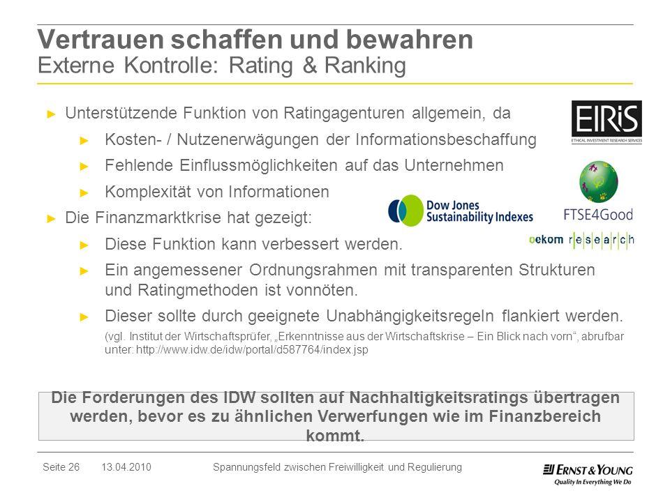 Seite 26 13.04.2010 Spannungsfeld zwischen Freiwilligkeit und Regulierung Unterstützende Funktion von Ratingagenturen allgemein, da Kosten- / Nutzener