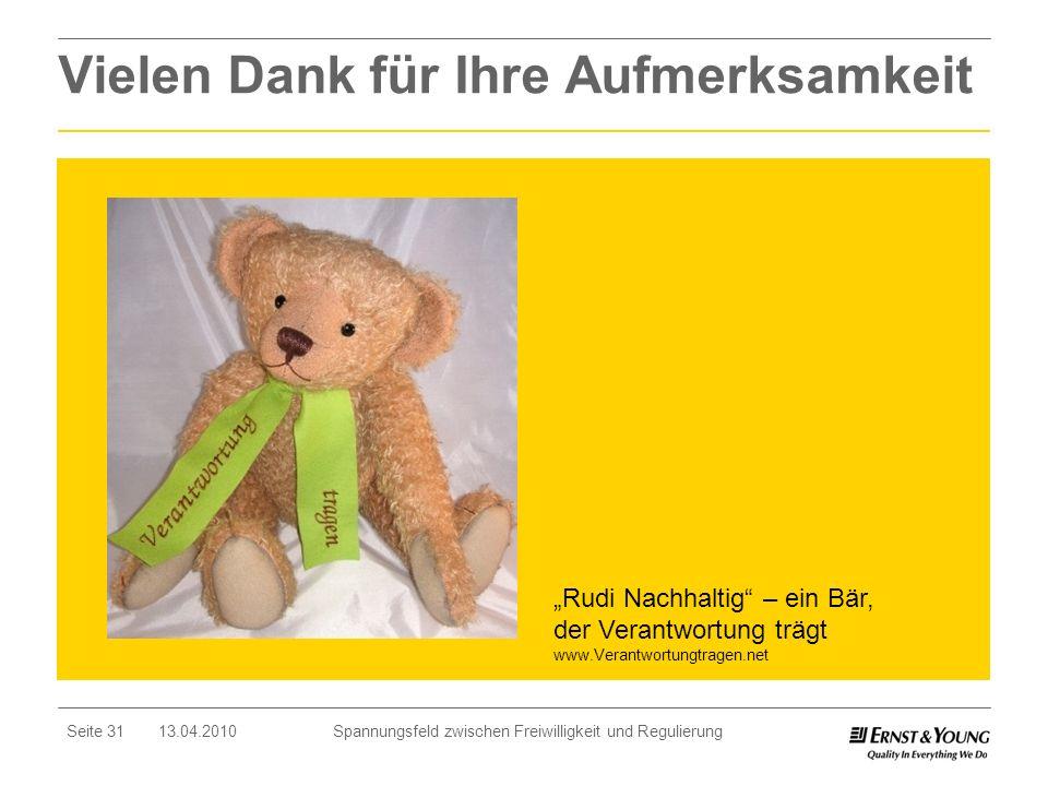 Seite 31 13.04.2010 Spannungsfeld zwischen Freiwilligkeit und Regulierung Vielen Dank für Ihre Aufmerksamkeit Rudi Nachhaltig – ein Bär, der Verantwor