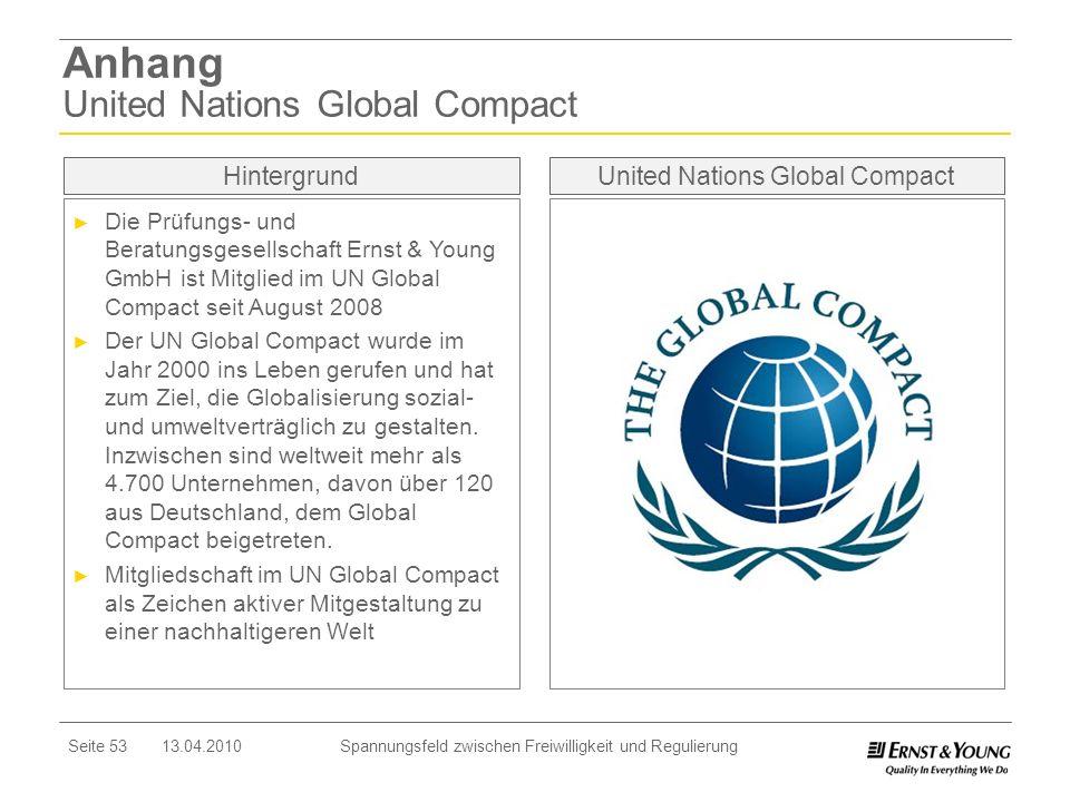 Seite 53 13.04.2010 Spannungsfeld zwischen Freiwilligkeit und Regulierung Anhang United Nations Global Compact United Nations Global Compact Die Prüfu