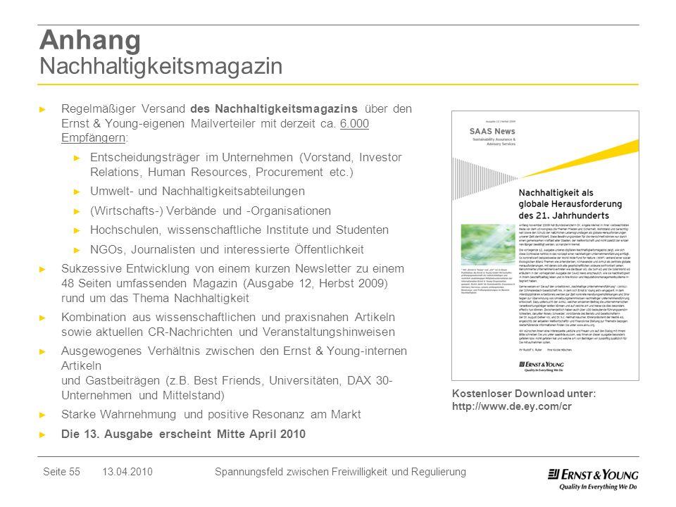Seite 55 13.04.2010 Spannungsfeld zwischen Freiwilligkeit und Regulierung Anhang Nachhaltigkeitsmagazin Regelmäßiger Versand des Nachhaltigkeitsmagazi