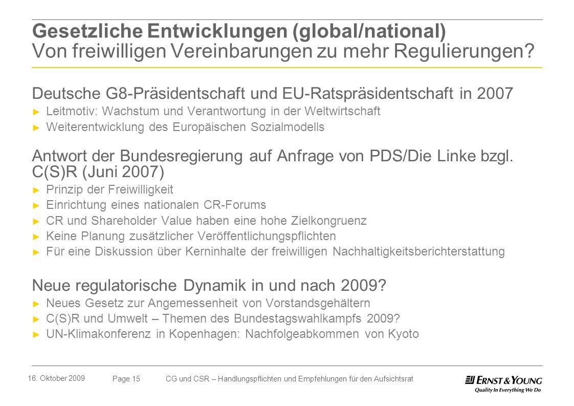Page 15 16. Oktober 2009 CG und CSR – Handlungspflichten und Empfehlungen für den Aufsichtsrat Gesetzliche Entwicklungen (global/national) Von freiwil