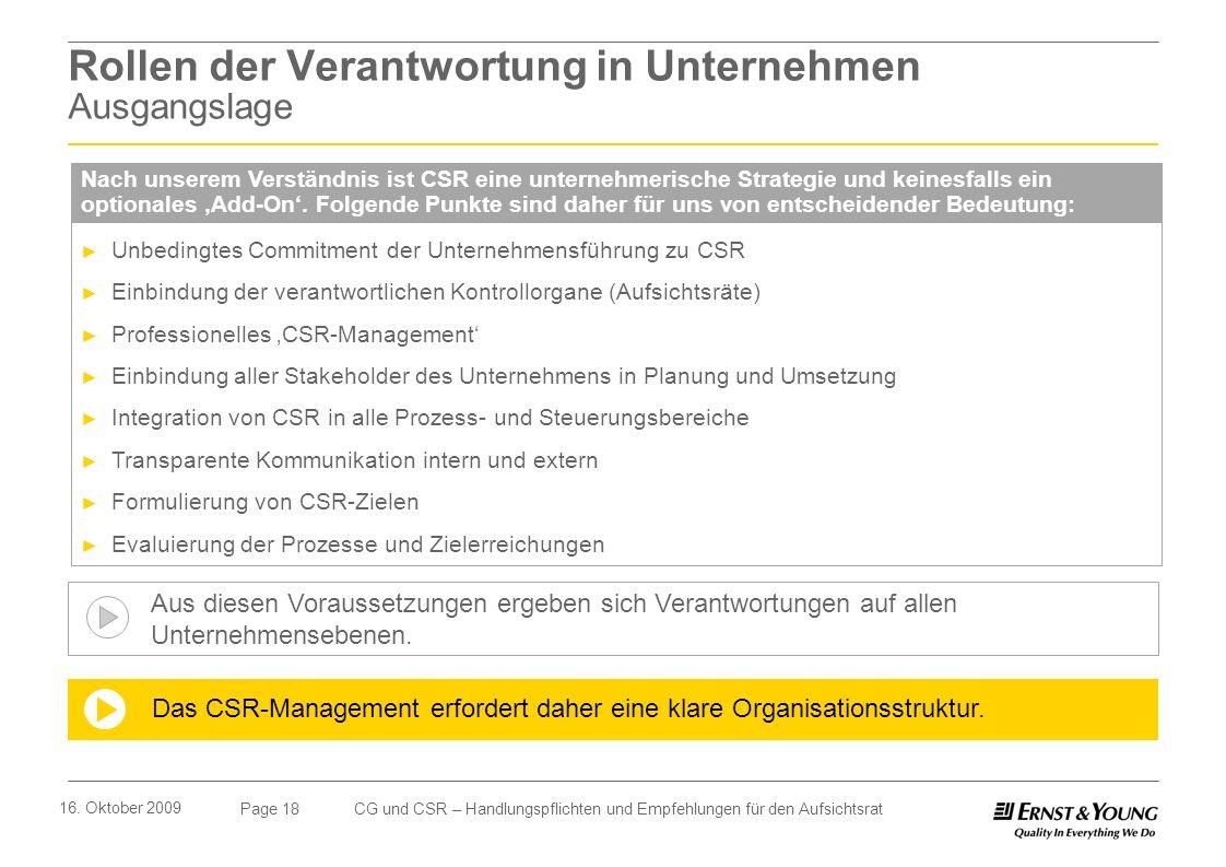 Page 18 16. Oktober 2009 CG und CSR – Handlungspflichten und Empfehlungen für den Aufsichtsrat Unbedingtes Commitment der Unternehmensführung zu CSR E