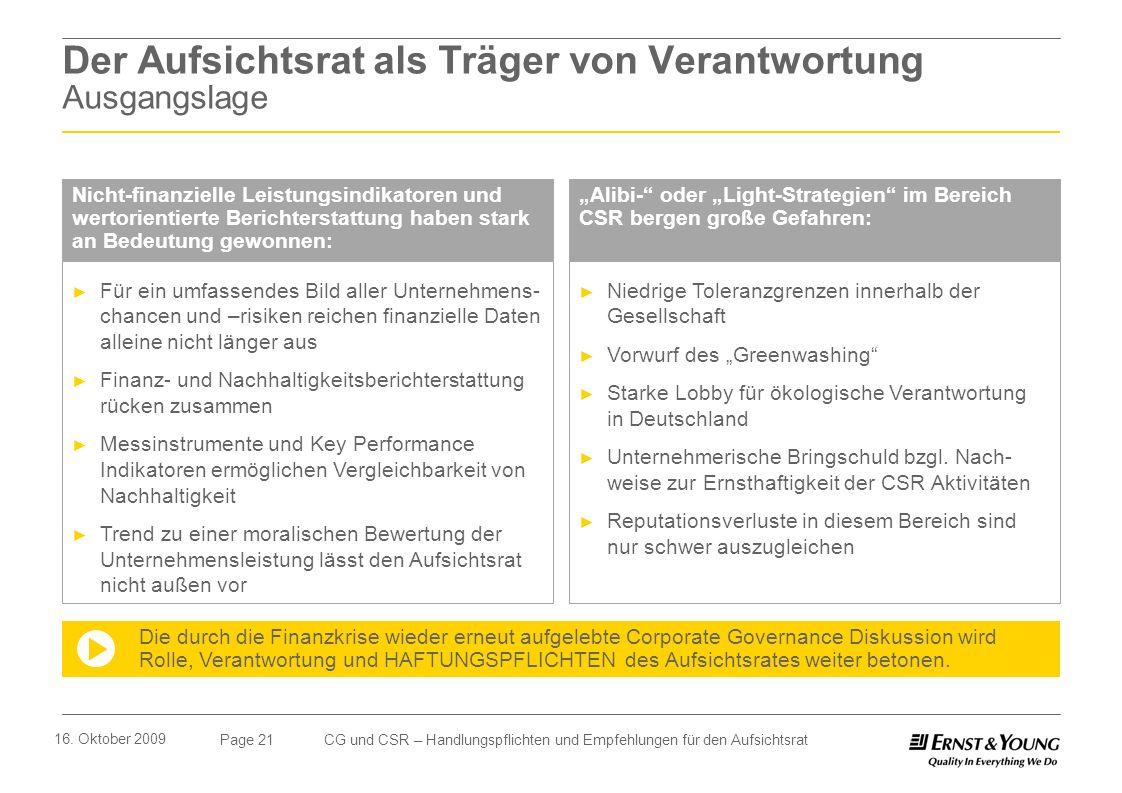 Page 21 16. Oktober 2009 CG und CSR – Handlungspflichten und Empfehlungen für den Aufsichtsrat Der Aufsichtsrat als Träger von Verantwortung Ausgangsl