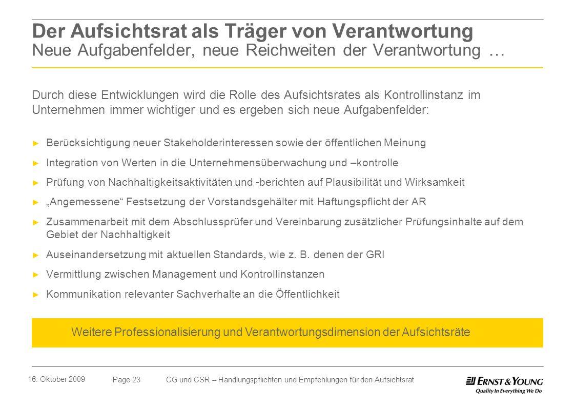 Page 23 16. Oktober 2009 CG und CSR – Handlungspflichten und Empfehlungen für den Aufsichtsrat Der Aufsichtsrat als Träger von Verantwortung Neue Aufg