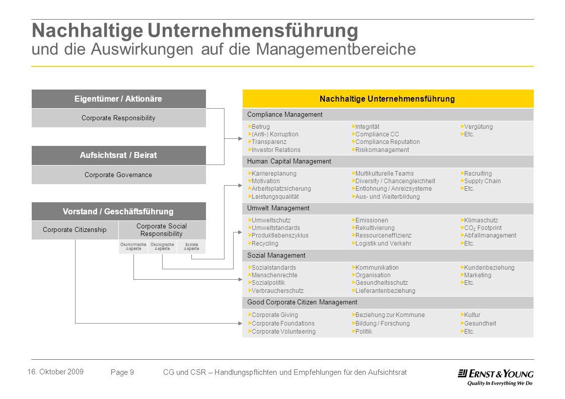 Page 9 16. Oktober 2009 CG und CSR – Handlungspflichten und Empfehlungen für den Aufsichtsrat Nachhaltige Unternehmensführung und die Auswirkungen auf
